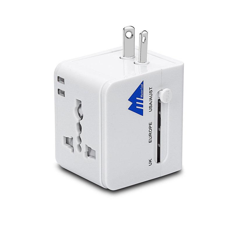 MasterTool - Worldwide Dual USB AC Power Plug Universal Travel Adapter,White
