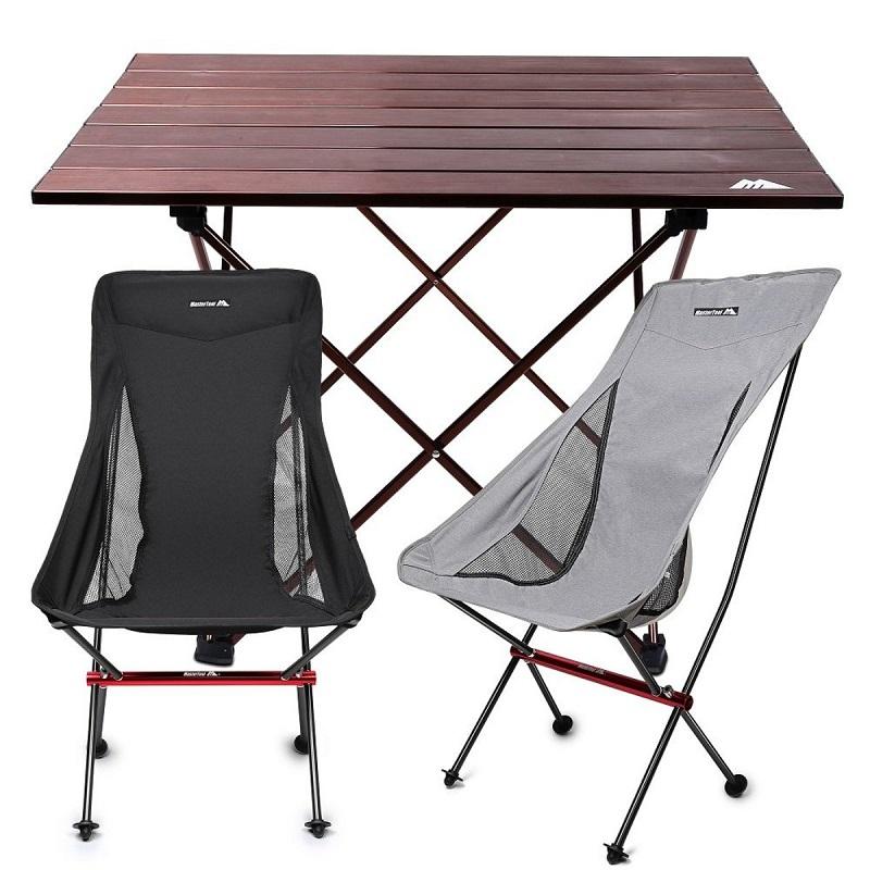 MasterTool - Aluminium Camping Foldable Hard Top Table & Chairs Set(Black Chair*1+Gray Chair*1+Table*1)