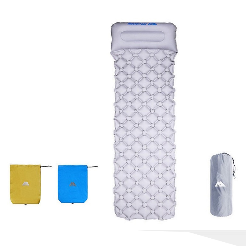 MasterTool - Single size Inflatable Sleeping Mat with Pillow, Gray, with Inflatable bag, size of 195x61x5cm