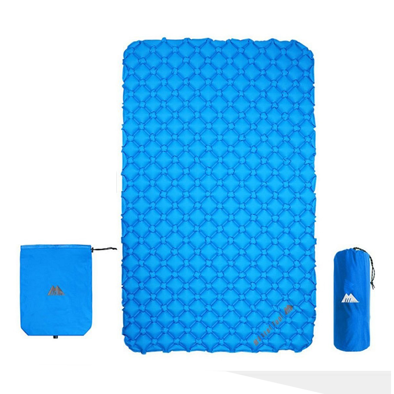 MasterTool - Double Large Size Sleeping Inflatable Mattress- Blue, with Inflatable Bag, size of 195x128x5cm