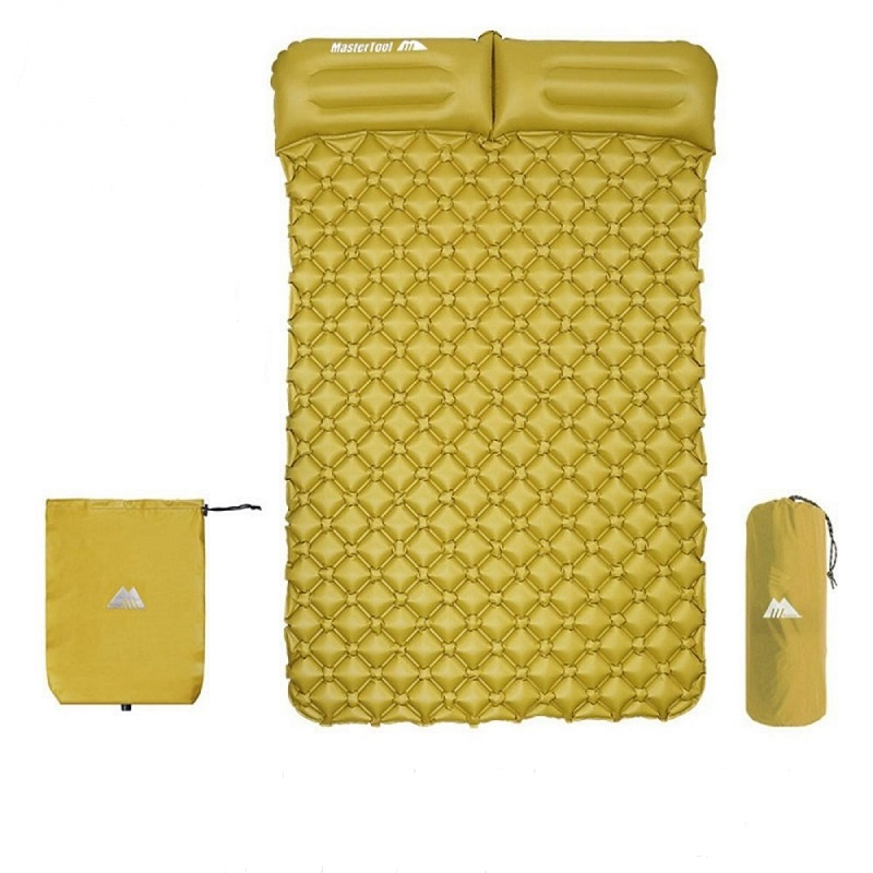 MasterTool - Double Large Size Inflatable Sleeping Mat with Pillow, with Inflatable Bag-Yellow, 195x128x5cm