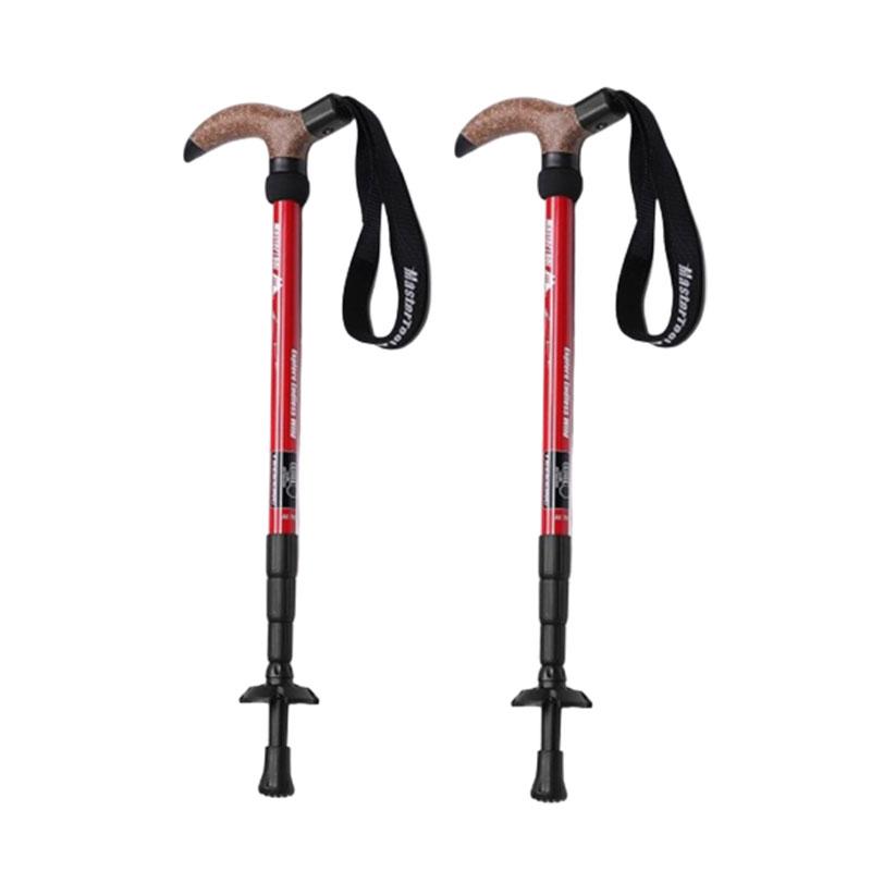 MasterTool - T handle trekking poles, 7075 Aluminum Poles - Red (2pcs/set)