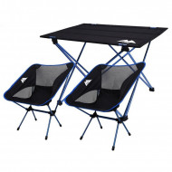 Camping Foldable, Picnic, Fish, Table&Chair, Blue, Combo set (2*chairs + 1*table)