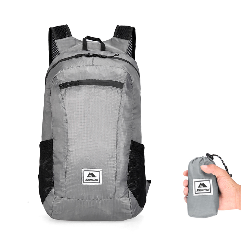 MasterTool - Outdoor folding backpack, gray-20L, travel mountaineering bag, ultra-light waterproof cycling backpack
