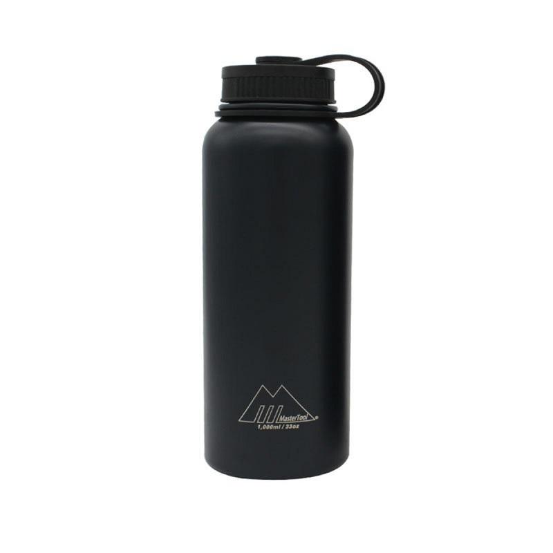 MasterTool - 1 Litre Stainless Steel Vacuum Bottle, Double-wall Sport Bottle-Dark Blue, 304SS, BPA Free