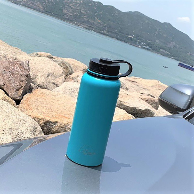 MasterTool - 1 Litre Stainless Steel Vacuum Bottle, Double-wall Sport Bottle-Pale Blue, 304SS, BPA Free
